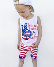 Load image into Gallery viewer, Free World Graphic Tank Top [Fourth of July, Patriotic, Stars + Stripes Collection]
