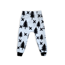 Load image into Gallery viewer, Woodland Monochrome Trees Harem Pants - Joggers - Leggings for Baby Toddler and Kids