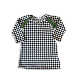Flutter Dress in Pine B + W Plaid (choice of sleeve length)