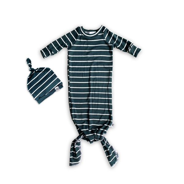 Knotted Sleeper Gown in Bold Narwhal Stripe