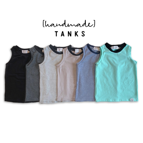 Solid Handmade Tank Top- Black, Gray, Denim Blue, Charcoal, Cement