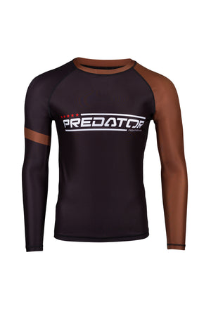 PREDATOR IBJJF RANK RASH GUARD BROWN