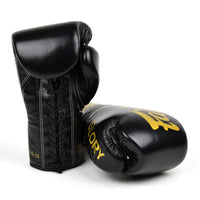 BGLG1 Fairtex X Glory Black Lace-up Boxing Gloves