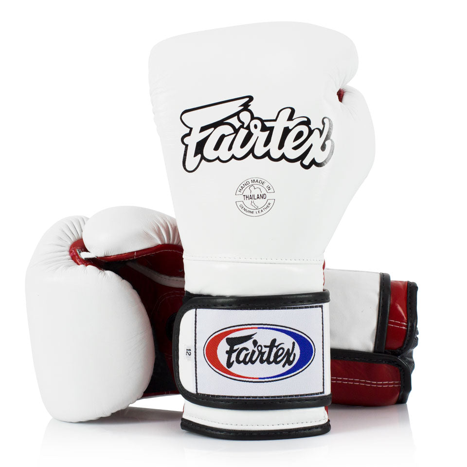 BGV9 Fairtex White-Red Mexican Style Boxing Gloves