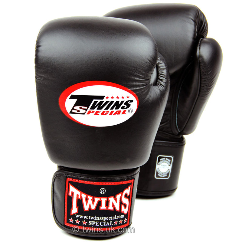 Twins Black Velcro Boxing Gloves