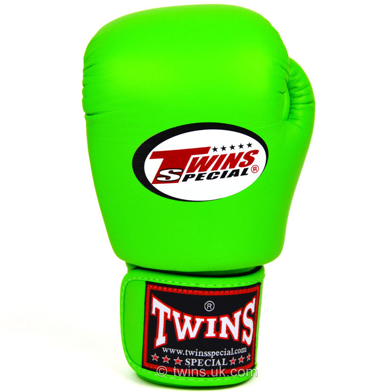 BGVL3 Twins Lime Green Velcro Boxing Gloves