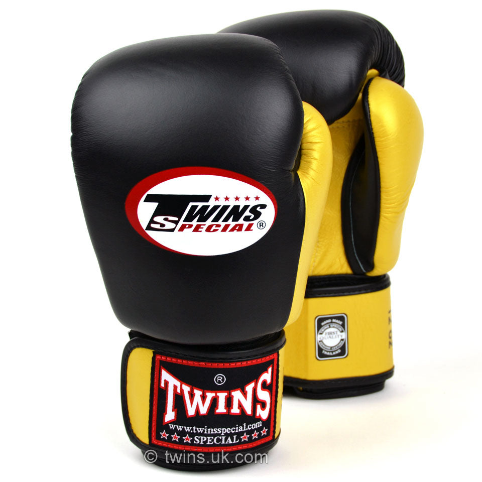 BGVL3-2T Twins 2-Tone Black-Gold Boxing Gloves