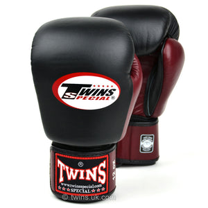 BGVL3-2T Twins 2-Tone Black-Maroon Boxing Gloves