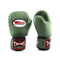 BGVL3 Twins Olive Green Velcro Boxing Gloves