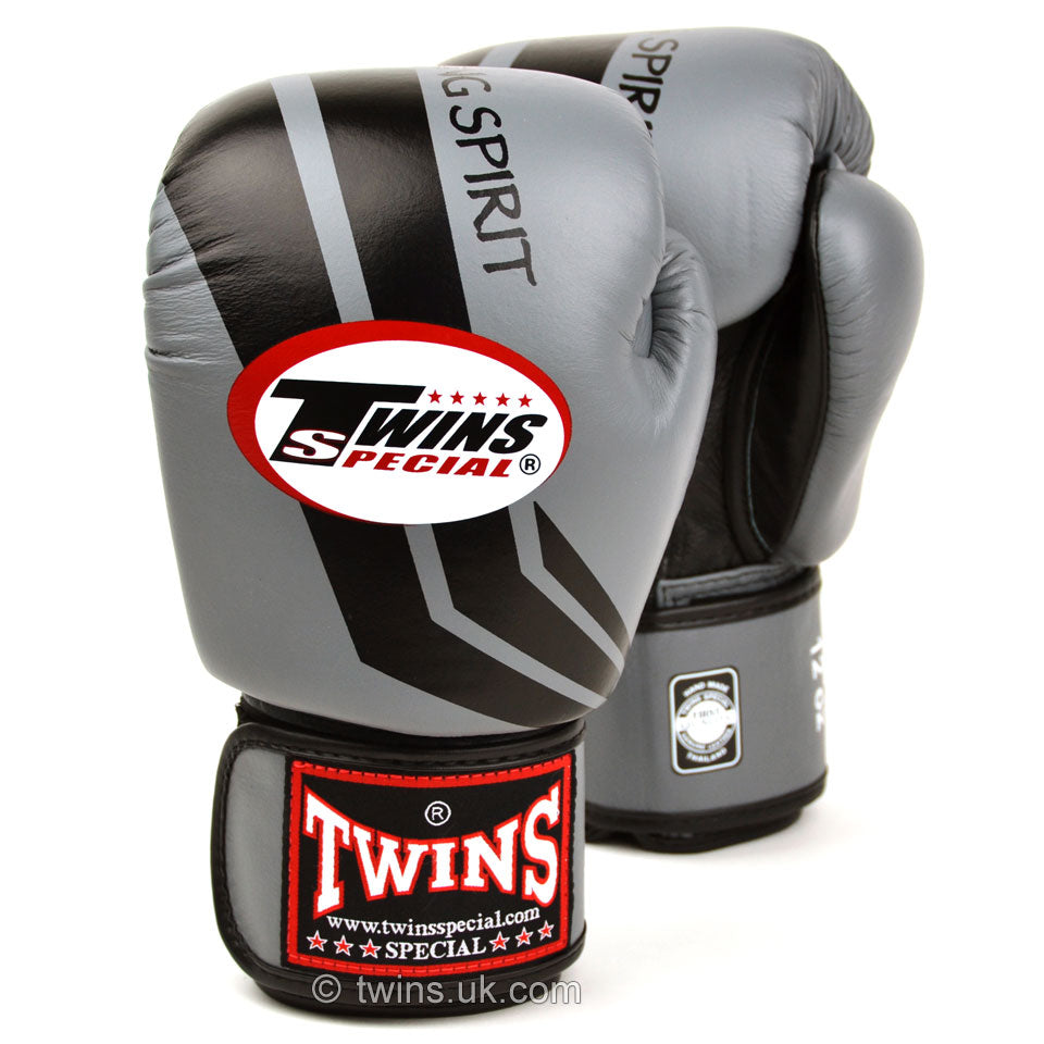 FBGVL3-43 Twins Grey-Black Stripe Boxing Gloves