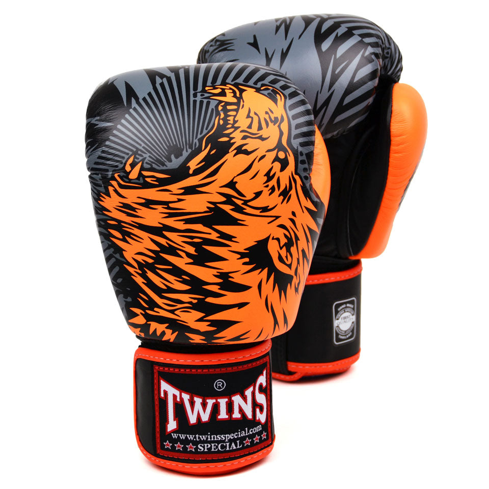 FBGVL3-50 Twins Orange Wolf Boxing Gloves