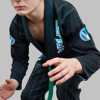 Kids Valor VLR Superlight BJJ GI Black front crouching