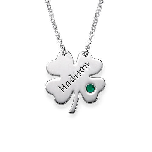 Personalized Four Leaf Clover Shamrock Necklace - Birthstone - Bellalicious Boutique  - 1