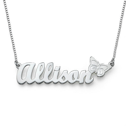 Personalized Nameplate Necklace with Butterfly