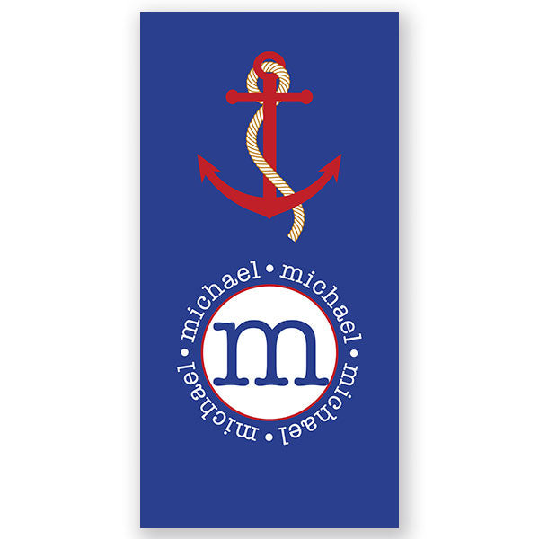 Personalized Beach Towel~Blue Anchor