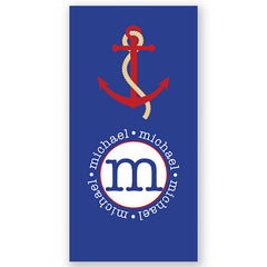 Personalized Beach Towel~Blue Anchor - Bellalicious Boutique