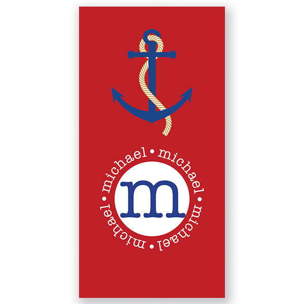 Personalized Beach Towel-Red Anchor - Bellalicious Boutique