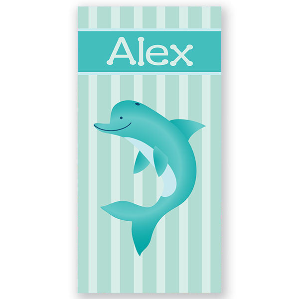 Personalized Beach Towel~Aqua Dolphin