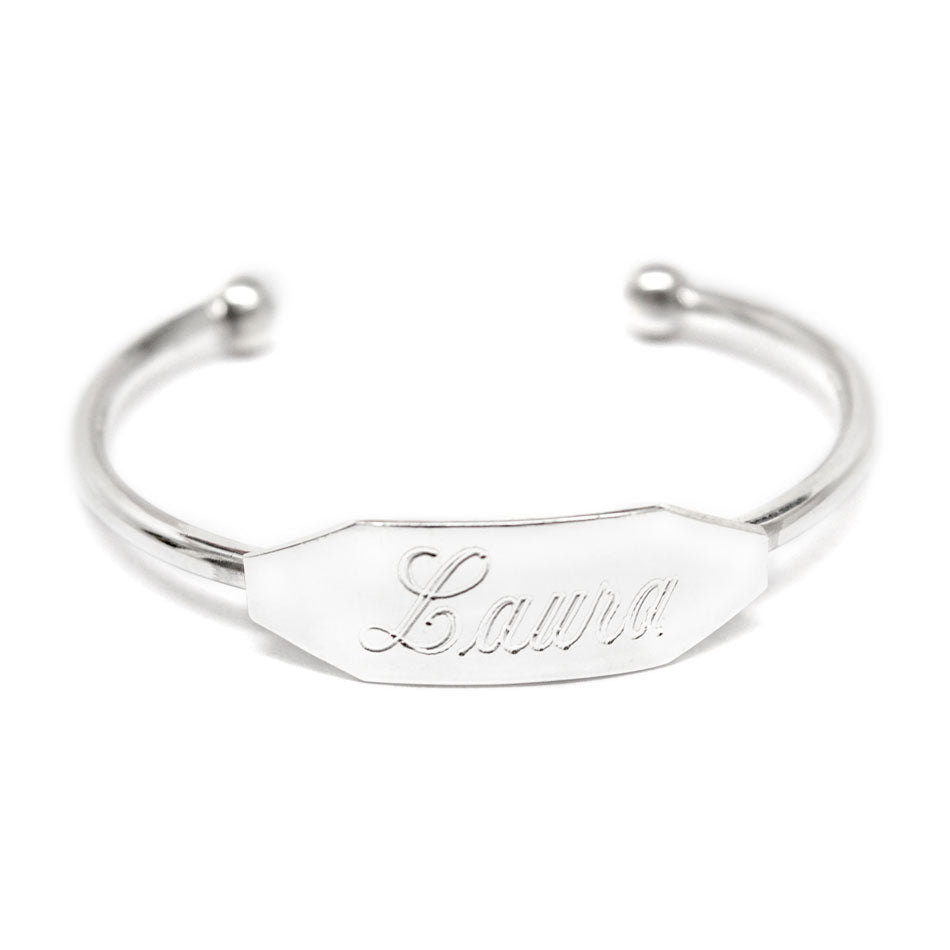 Personalized Sterling Silver Baby Cuff Bracelet