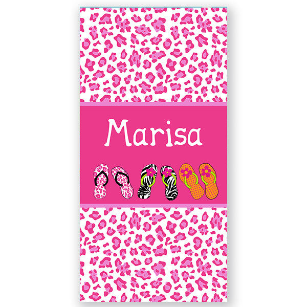Personalized Beach Towel~Flip Flops Cheetah