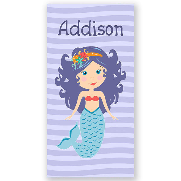 Personalized Beach Towel~Purple Mermaid