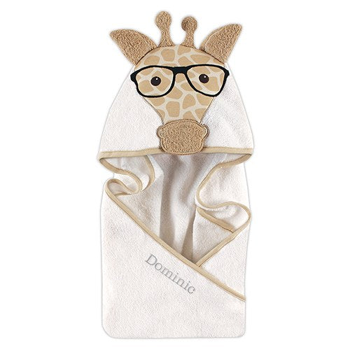 Monogrammed Hooded Bath Towel - Giraffe