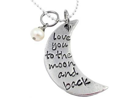 Hand Stamped Pewter I Love You To The Moon and Back Moon Necklace