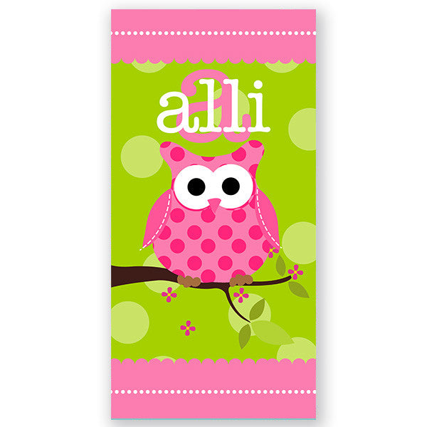 Personalized Beach Towel~Owl