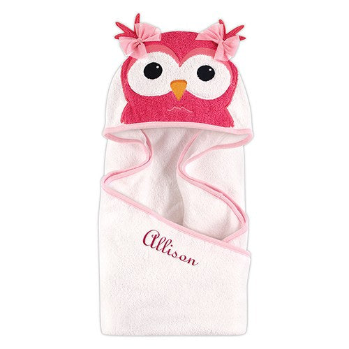 Monogrammed Hooded Bath Towel - Owl