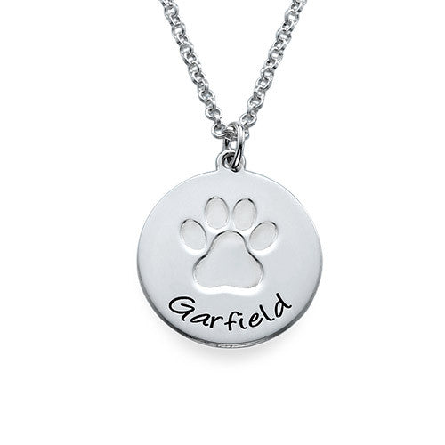 Personalized Sterling Silver Paw Print Necklace