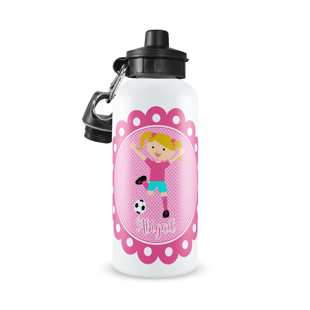 Personalized Kids Water Bottle ~ Pink Soccer Girl