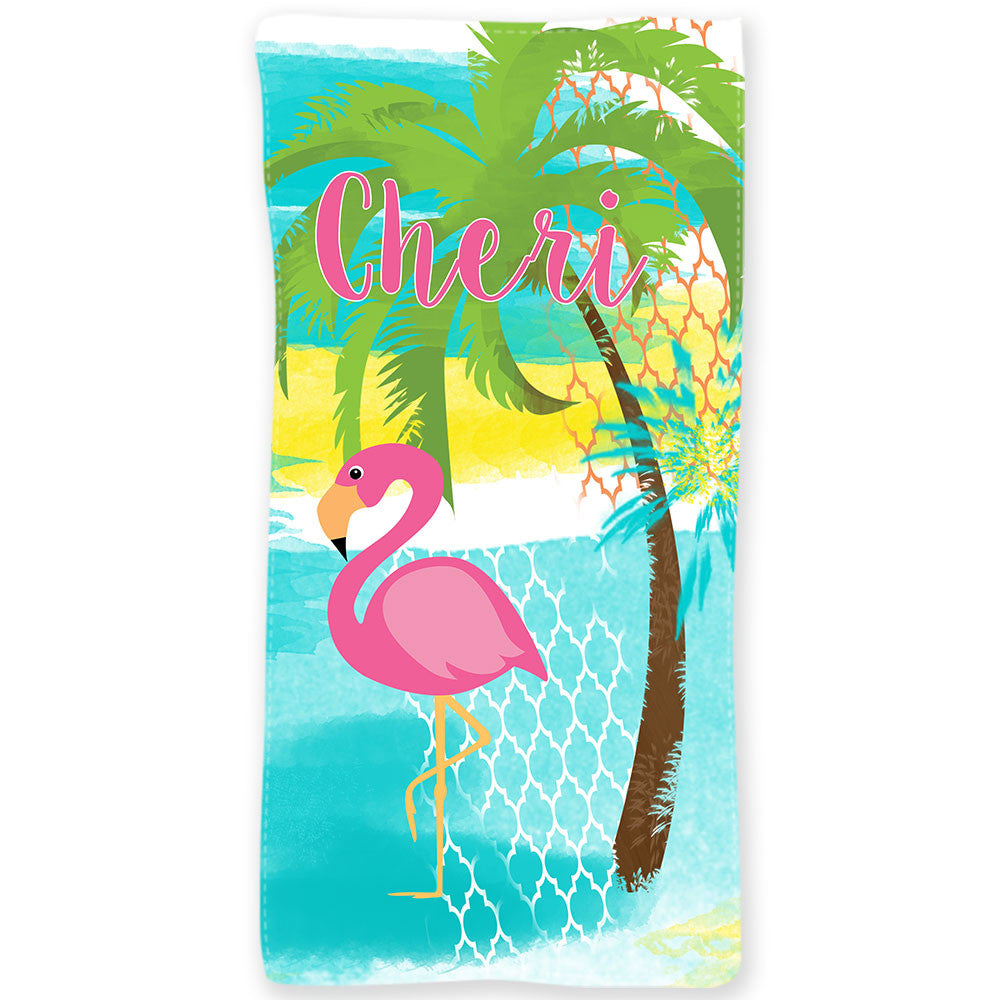 Personalized Beach Towel~Pink Flamingo
