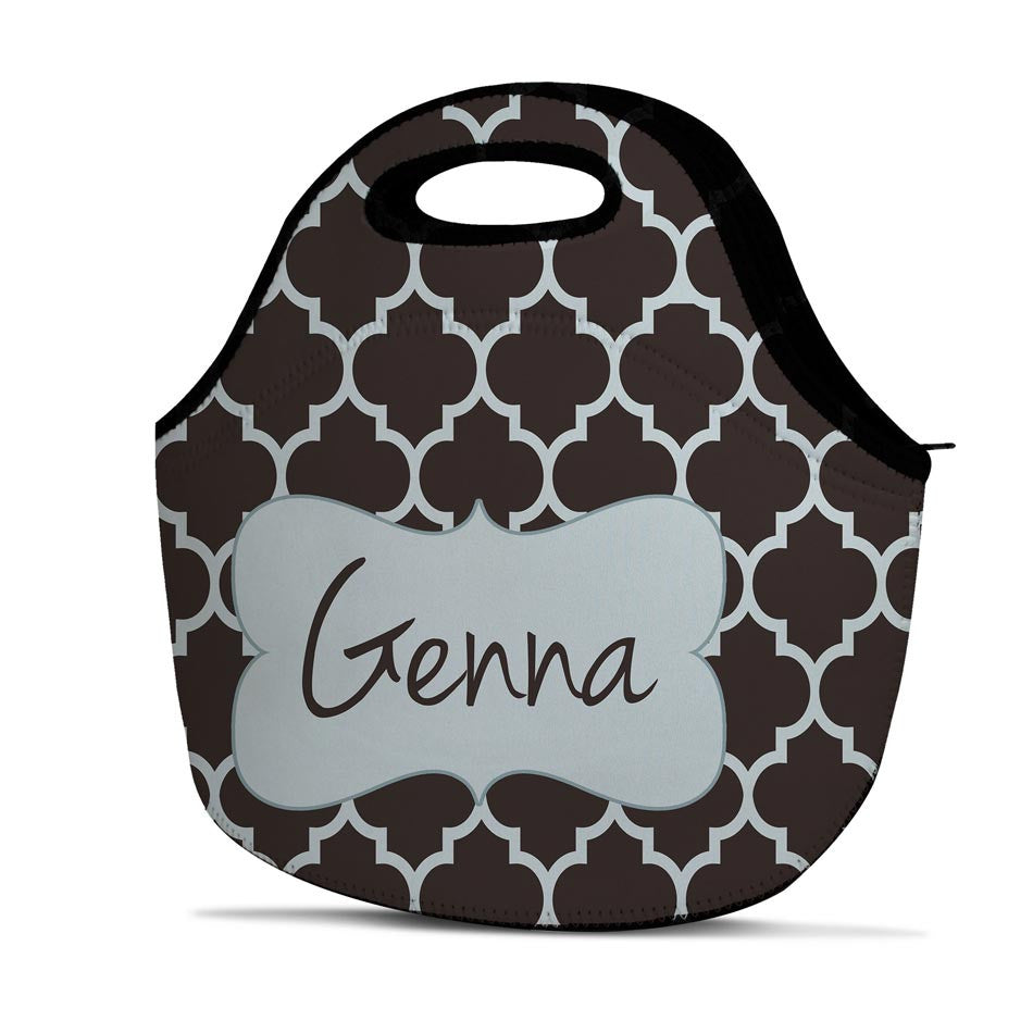 Monogrammed Lunch Tote - Quatrefoil
