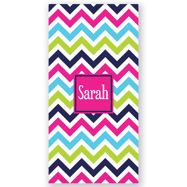 Personalized Beach Towel~Rainbow Brights Chevron