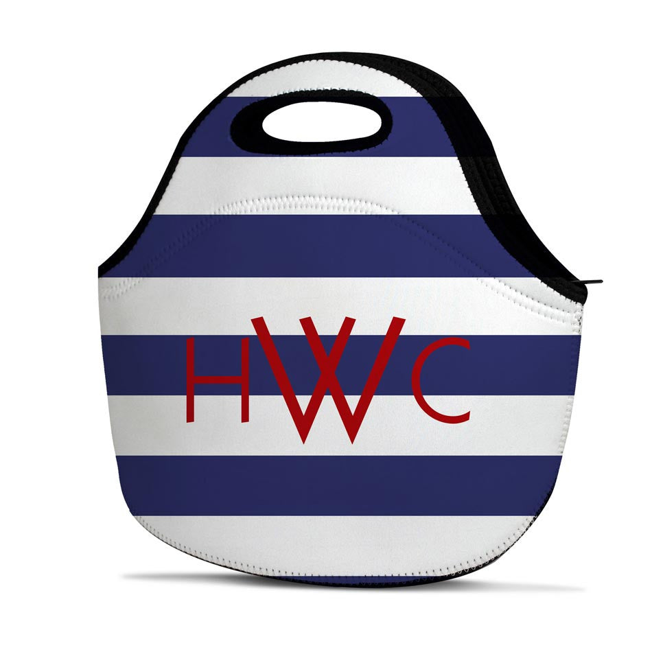 Monogrammed Lunch Tote - Rugby Stripe