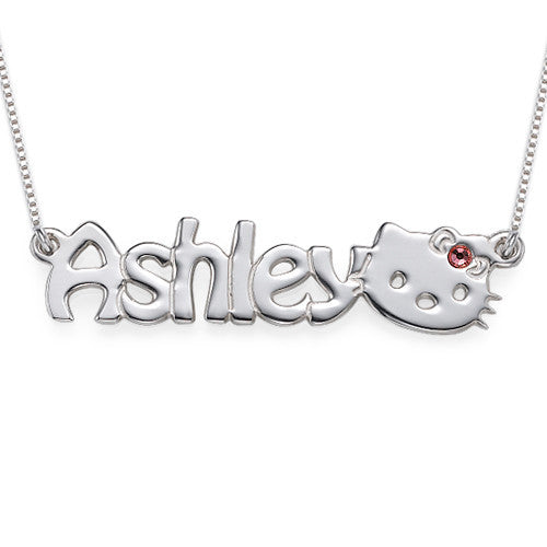 Sterling Silver Nameplate Necklace with Kitten
