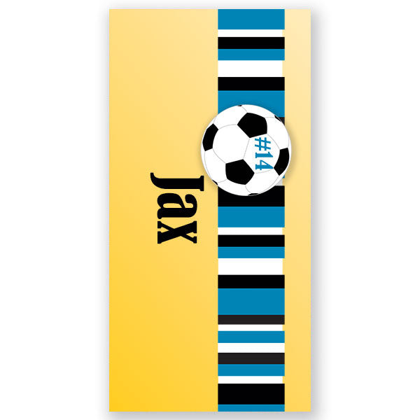 Personalized Beach Towel~Soccer Boy