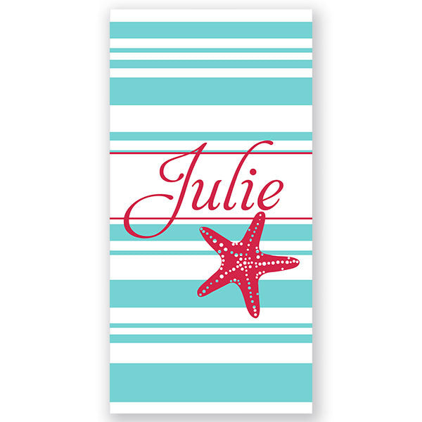 Personalized Beach Towel~Starfish Stripes