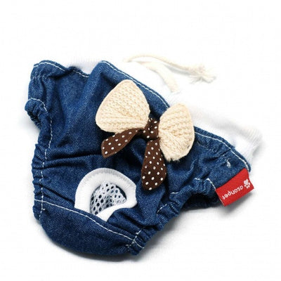 Denim bowknot pants - Little Cherry
