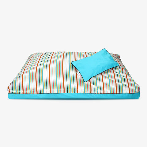 Rainbow Strippo| colourful stipe pattern natural dog bed cover from DreamCastle - DreamCastle Natural Dog Bed