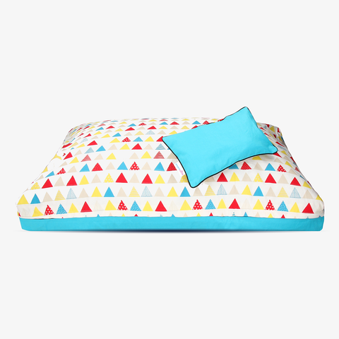Pascal Triangle | Super cute & brightly designed natural dog bed cover from DreamCastle - DreamCastle Natural Dog Bed