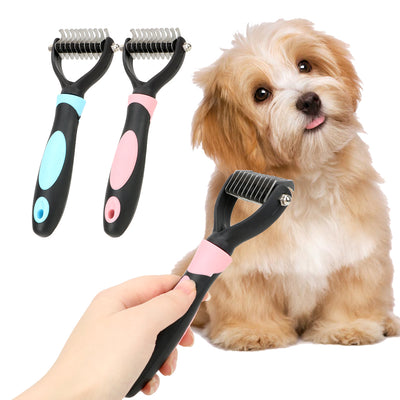 Pet Fur Knot Cutter - Grooming Shedding Brush Comb for Dog and Cat - Little Cherry