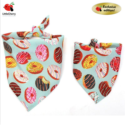 donut pattern print adjustable dog cat bib