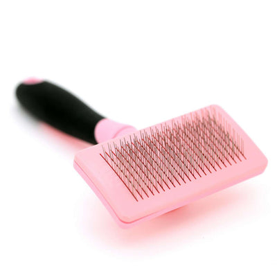 Pet Grooming Brush With Self-Clean Design  ( Pink) - Little Cherry