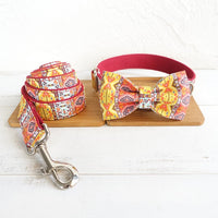 Bohemia Dog Collar with Bow Custom Engraving ID Dog Collar with Leash Set High Quality Silver Metal Buckle Pet Collar Leash Set - Little Cherry