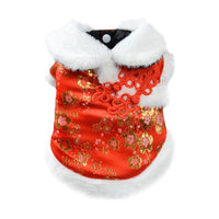 Hot Dog Chinese Style Clothes New Year Pet Coat Red Cheongsam Silk Cotton Winter Small Medium Dogs Puppy Costume