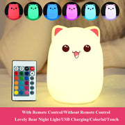 Cartoon Cat LED Night Light WITH Remote Control - Little Cherry