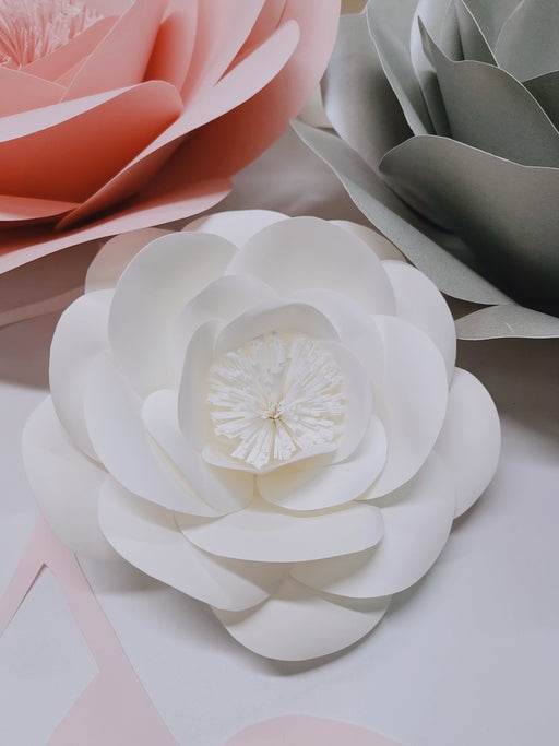 Chic White Grey Pink Giant Paper Flowers, Decor, 3LittlePicks - 3LittlePicks