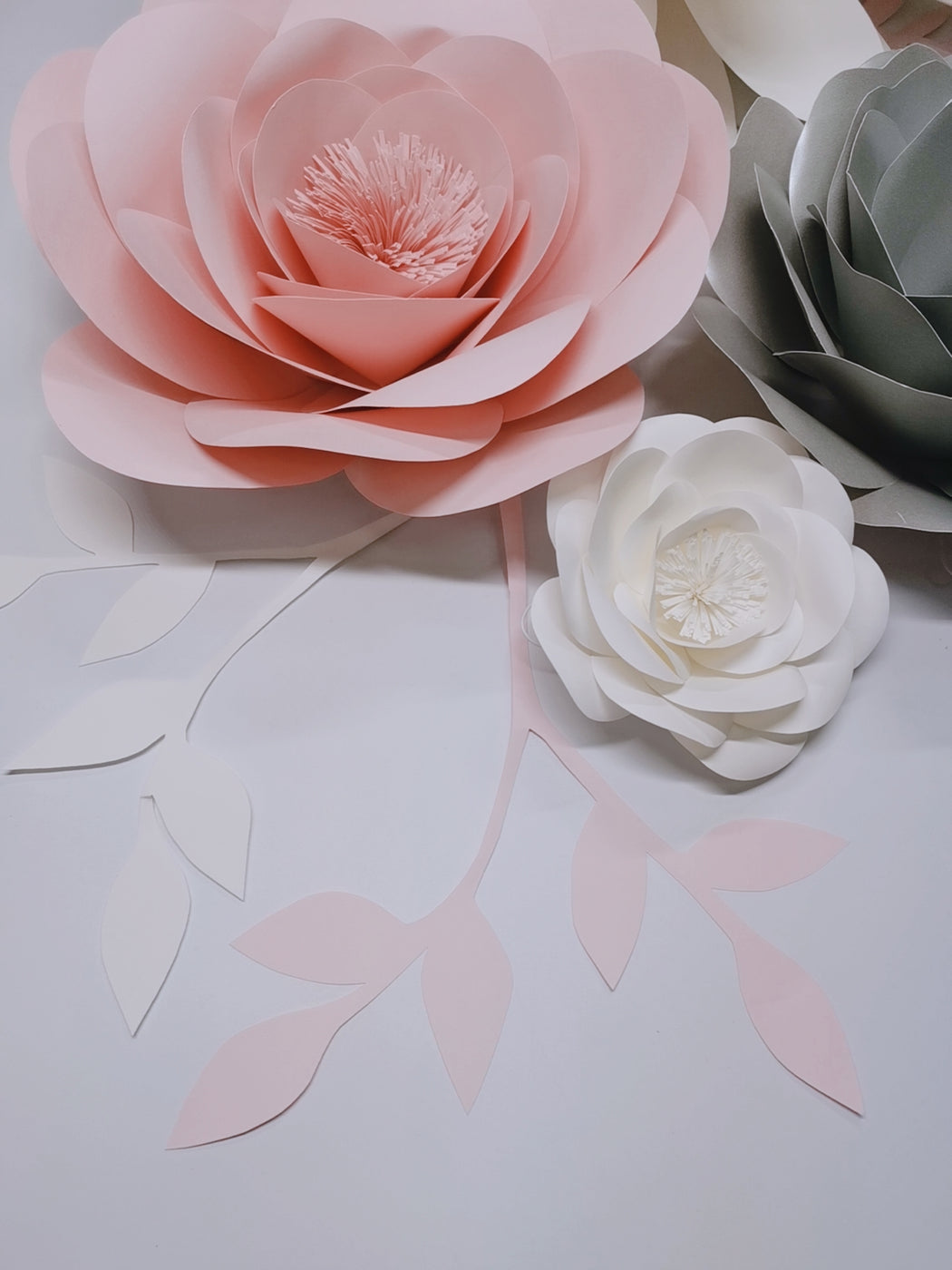 Chic White Grey Pink Giant Paper Flowers