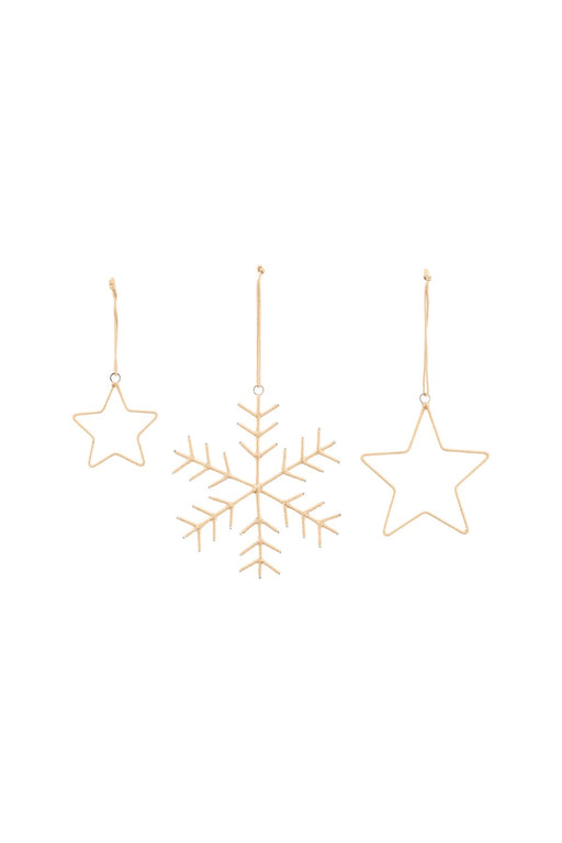 Golden Snowflakes & Star Ornaments
